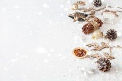 Состав рождества на белой предпосылке украшений рождества Стоковая Фотография
