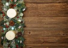 Состав рождества на деревянной предпосылке стоковое фото