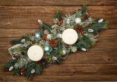 Состав рождества на деревянной предпосылке стоковые изображения