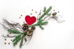 Состав рождества необыкновенный на белой предпосылке Предпосылка рождества для представления работы или текста Стоковое Изображение