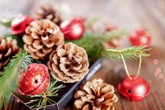Состав рождества от ветвей конусов спруса и дерева дальше стоковые изображения
