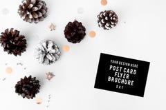 Состав рождества рогульки конусы и украшения рождества на белой предпосылке Плоское взгляд сверху положения Стоковая Фотография