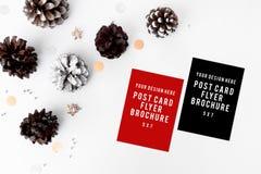 Состав рождества рогульки конусы и украшения рождества на белой предпосылке Плоское взгляд сверху положения Стоковые Изображения