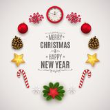 Состав рождества с праздничными элементами Шарики рождества, конусы, дозоры, звезды, ветви сосны и ягоды иллюстрация штока