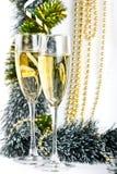 Состав рождества с стеклами шампанского Стоковая Фотография RF