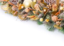 Состав рождества с украшениями для домашнего интерьера Предпосылка Copyspace Стоковые Фотографии RF