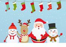 Состав рождества с Santa Claus иллюстрация вектора