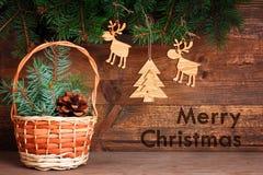 Состав рождества деревянных дружественных к эко игрушек Стоковое фото RF