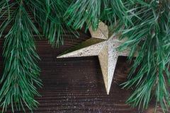 Состав рождества золотых отрубей дерева орнамента и xmas звезды Стоковое Изображение RF
