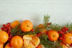Состав рождества мандарина Стоковая Фотография