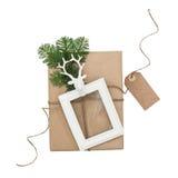 Состав рождества с биркой бумаги картинной рамки подарка Стоковая Фотография