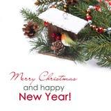 Состав рождества с ветвями birdhouse и ели Стоковое фото RF