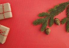 Состав рождества с подарками Xmas, ветвью ели и конусом сосны на красной предпосылке Взгляд сверху, плоское положение скопируйте  Стоковое Фото