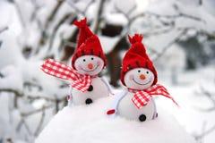 Состав рождества с snowmans Стоковое Фото