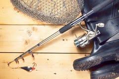 Состав рыбной ловли с различной двигая под углом шестерней Стоковые Фотографии RF