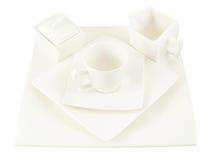 состав Сахар-шара, чашки и плиты квадрата Стоковые Изображения