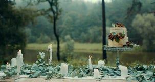 Состав свадьбы Очень вкусный 2-tiered торт на таблице украшенной с листьями, цветки и свечи приближают к реке в туманном акции видеоматериалы