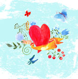 Состав сердец акварели Стоковое фото RF