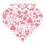Состав сердец значков дизайна свадьбы для сети и черни Стоковые Изображения RF