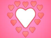 Состав сердец на розовой предпосылке с местом для фото или надписи Иллюстрация цифров 3d представляют Стоковые Изображения