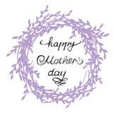 Состав счастливого Дня матери Винтажный венок с каллиграфией руки Стоковая Фотография
