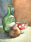 Бутылка, крышка и яблоко - акварель Стоковое Изображение RF