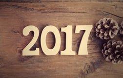 Состав с деревянный 2017 как символ приходить Стоковое Фото