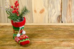 Состав с носком рождества Стойка чулка рождества на a Стоковое Фото