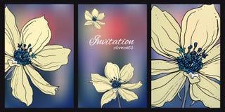 Состав с одичалым clematis цветет для wedding продуктов печатания Стоковые Фотографии RF