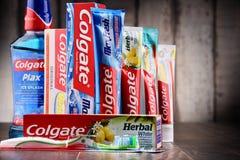 Состав с продуктами Colgate стоковое изображение