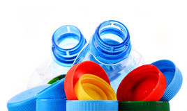 Состав с пластичными бутылками и крышками Стоковые Фотографии RF