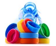 Состав с пластичными бутылками и крышками Стоковые Изображения