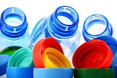 Состав с пластичными бутылками и крышками Стоковое Фото