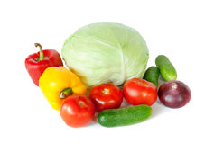 Состав с сырцовыми овощами на белизне Стоковое фото RF