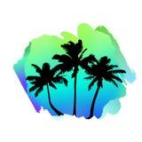 Состав с тропическими пальмами на зеленом цвете конспекта акварели, пятном cayn иллюстрация вектора