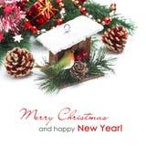 Состав с украшениями рождества, birdhouse, елевые ветви Стоковое Фото