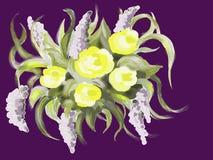 Состав с фантастическими цветками иллюстрация вектора