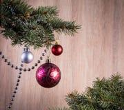 Состав с шарики украшения рождественской елки и рождества, Стоковое Изображение