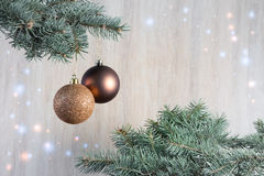 Состав с шарики украшения рождественской елки и рождества, Стоковые Изображения RF