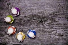 Состав с rubbits пасхи Деревянная текстура для предпосылки Стоковое Изображение