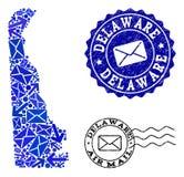 Состав троп почты карты мозаики государства Делавера и поцарапанных печатей иллюстрация штока