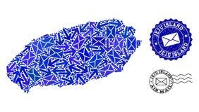 Состав троп почты карты мозаики уплотнений острова и дистресса Jeju иллюстрация штока