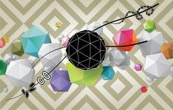 Состав цвета абстрактный от геометрических форм Стоковые Фото