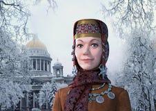 Состав цвета Петербурга & русской женщины Стоковая Фотография RF