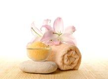 состав цветет полотенце спы соли Стоковое Изображение RF