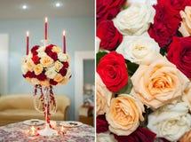 Состав цветка с свечами Стоковая Фотография