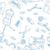 Состав швейного набора безшовный Стоковые Изображения RF