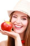 Состав шляпы лета женщины красочный держит плодоовощ яблока Стоковые Изображения