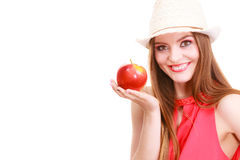 Состав шляпы лета женщины красочный держит плодоовощ яблока Стоковые Фото