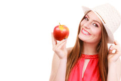 Состав шляпы лета женщины красочный держит плодоовощ яблока Стоковая Фотография RF